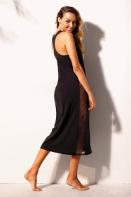 Black Mesh Side Long Cover-up
