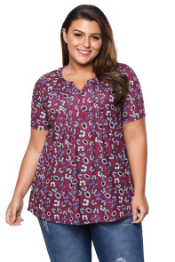Burgundy Butterfly Floral Pin Tuck Plus Size Blouse