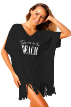 Black Loose Fit Take me to the BEACH Cover up