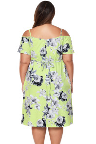 Yellow & Grey Floral Cold Shoulder Plus Size Dress with Waist Tie