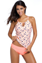 Chic Anchor Print Pink 2pcs Tankini Swimsuit