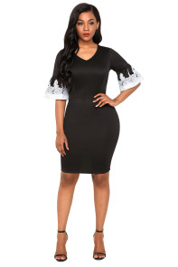 Black White Bodycon Ruffle Sleeve Cuff Midi Dress