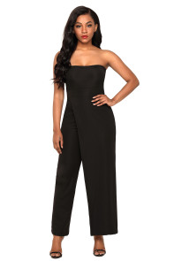 Black Asymmetric Split Leg Strapless Jumpsuit