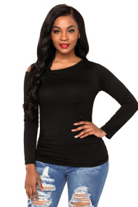 Black Ruched Asymmetric Top
