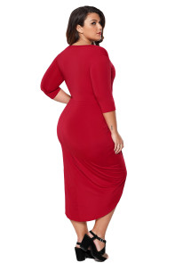 Red Plus Size Plunge Cross Strap Surplice Bodycon Dress