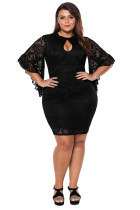 Black Lace Flare Bells Bodycon Plus Size Dress