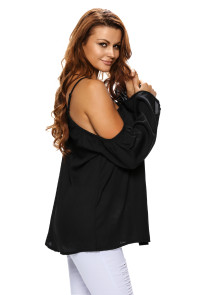 Black Long Sleeve Off Shoulder Halter Top