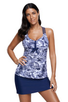 Royal Blue Underbrush Print Trio Straps Tankini Swimsuit