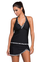 Contrast White Trim Black Halter Tankini Skort Swimsuit