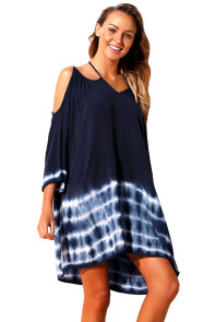 Navy Tie Dye Detail Cold Shoulder Coverup Dress