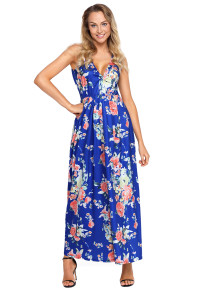 Royal Multi Floral Pattern Maxi Dress