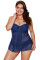 Navy Blue Lace Flyaway Underwired Tankini Bathing Suit