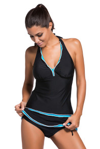 Contrast Blue Trim Black Halter Tankini Skort Swimsuit