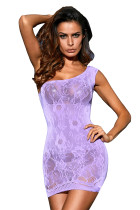Violet One Shoulder Floral Pattern Chemise Lingerie