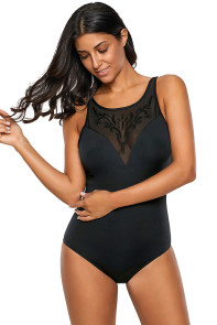 Black Embroidered Detail Mesh Bust Teddy Swimsuit