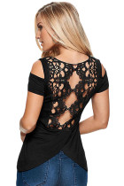 Black Crochet Back Cold Shoulder Top