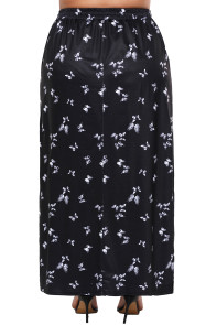 Plus Size Butterfly Print Elastic Waist Maxi Skirt with Slits