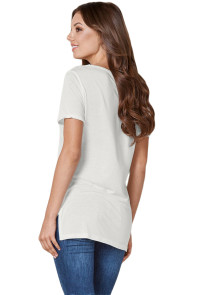 White Asymmetric Split Detail One String Shirt