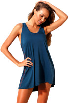 Blue Mesh Side Racerback Coverup