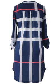 Blue Plaid Roll up Sleeves Arched Hemline Dress