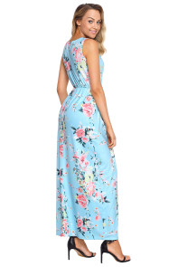 Aqua Multi Floral Pattern Maxi Dress