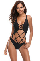 Black Strappy Cage Front Open Back One Piece Swimsuit