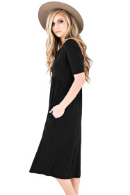 Black Half Sleeve Jersey Knit Midi Dress