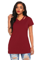 Wine Loose Fit Basic T-Shirt