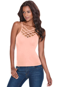 Coral Caged Front Detail Cami Top