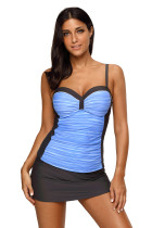 Blue Grey Ruched Tankini and Skirted Swimsuit
