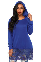 Blue Lace Trim Oversize Hoodie