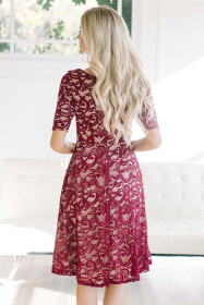 Burgundy Lace Party Midi Dress