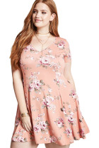 Plus Size Coral Floral Mini Dress