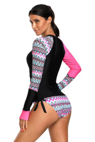 Contrast Rosy Detail Long Sleeve Tankini Swimsuit