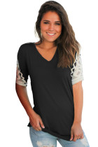 Black Ruched Top with Crochet Detail