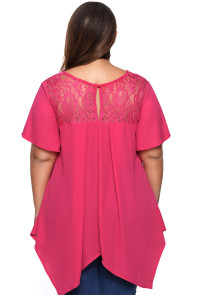Solid Rosy Lace Yoke Plus Size Top