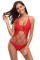 Red Strappy Cage Front Open Back One Piece Swimsuit