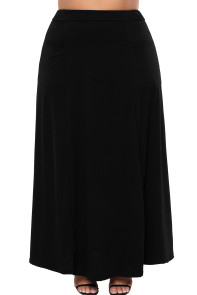 Black Maxi Jersey Skirt With Pockets