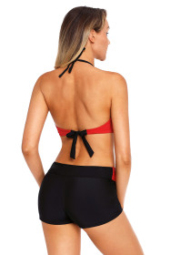 Red Twist Front Bikini and Boardshort Swimsuit