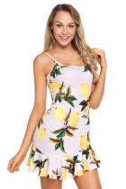 Lemon Fruity Print Ruffle Hem Mini Dress