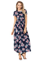 Pocket Design Short Sleeve Black Floral Maxi Dress