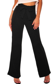 Black Sash Bow Tie High Waist Palazzo Pants