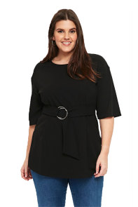 Black D-Ring Plus Size Top for Women
