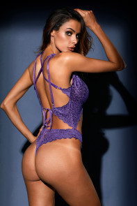 Purple Cut out Lace Teddy