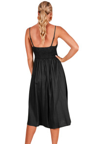 Black Sexy Backless Tie Front Button Skirt Midi Dress