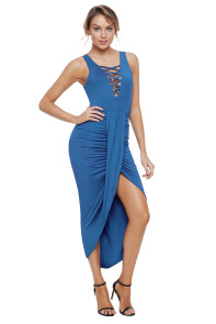 Royal Blue Crisscross V Neck Sleeveless Maxi Jersey Dress