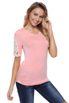 Pink Ruched Top with Crochet Detail
