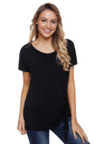 Black Short Sleeve Drawstring Tee Top