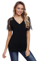 Black Eyelash Lace Sleeves Top