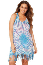 Abstract Print Sleeveless Plus Size Cover up with Fringed Hem